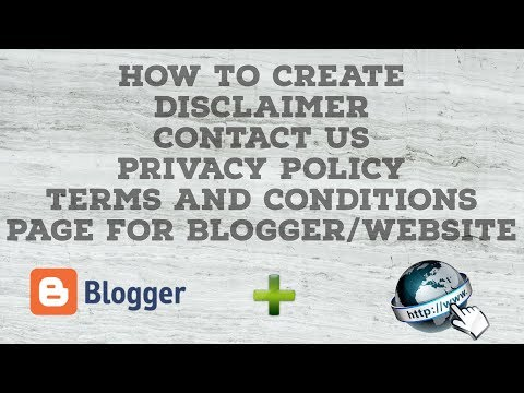 How to Create Terms and Conditions,Privacy Policy,Disclaimer,Contact Us Page for Blogger/Website