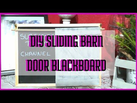 DIY SLIDING BARN DOOR CHALKBOARD // MICHAEL'S DUPE