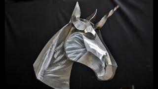 Weld a steel Unicorn/Horse sculpture