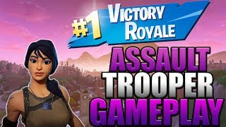 Assault Trooper Skin gameplay w/ solo victory (Fortnite Battle Royale)