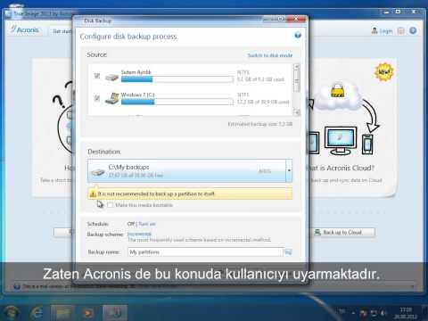 Acronis True Image 2013 Kullanımı  Yedekleme Video