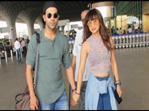 Patralekha and Rajkummar Rao at the airport
