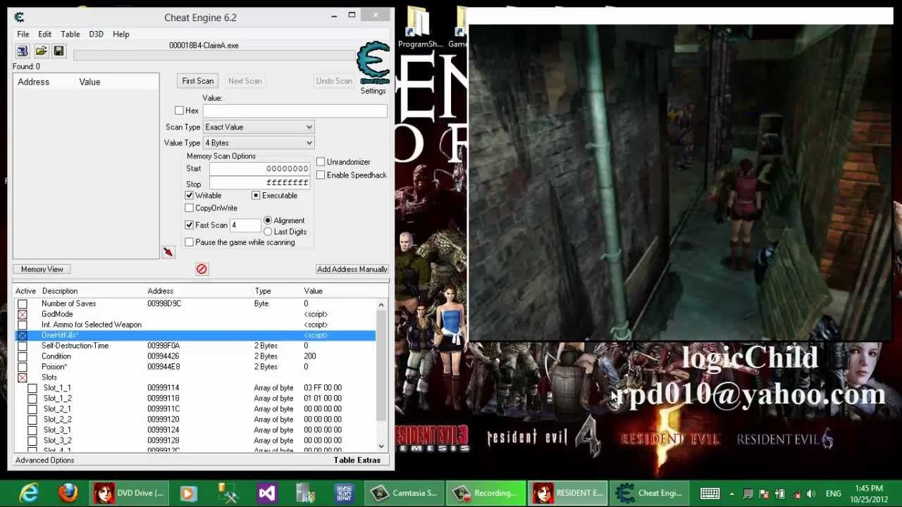 Resident Evil 2 (Leon + Claire) - PC: Cheat Engine