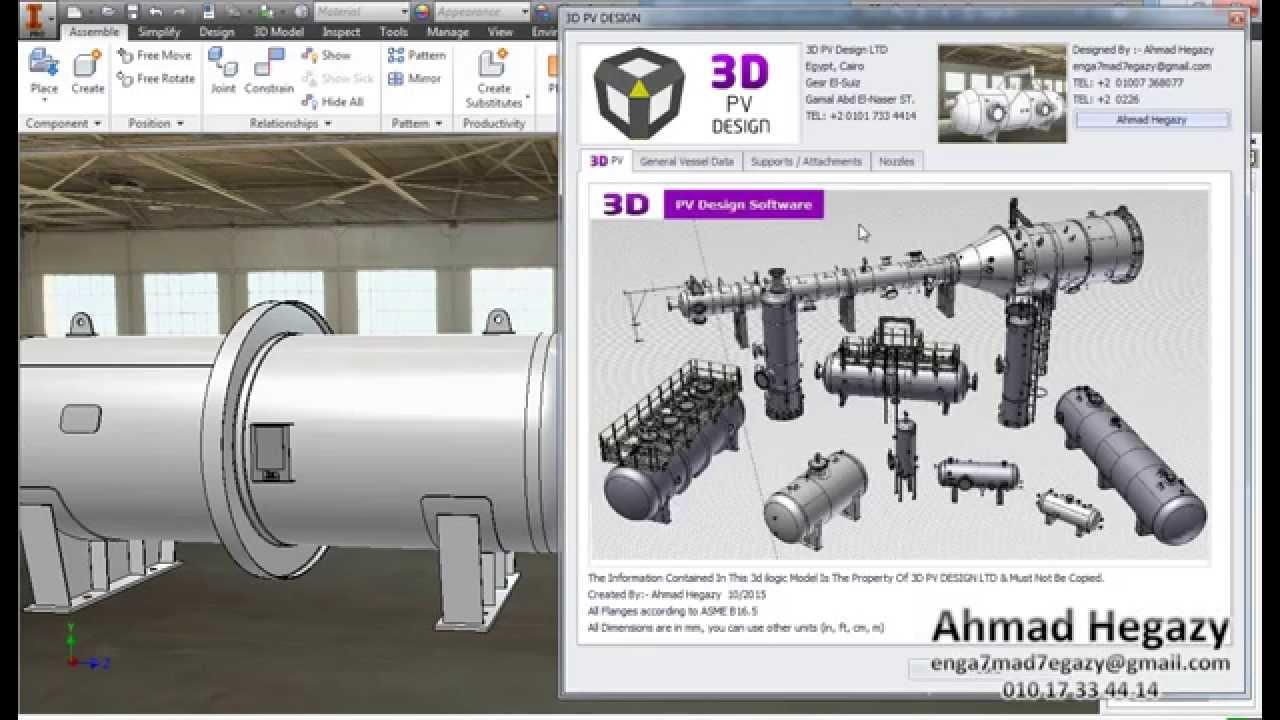 3d Pv Design Software Horizontal Pressure Vessel Youtube
