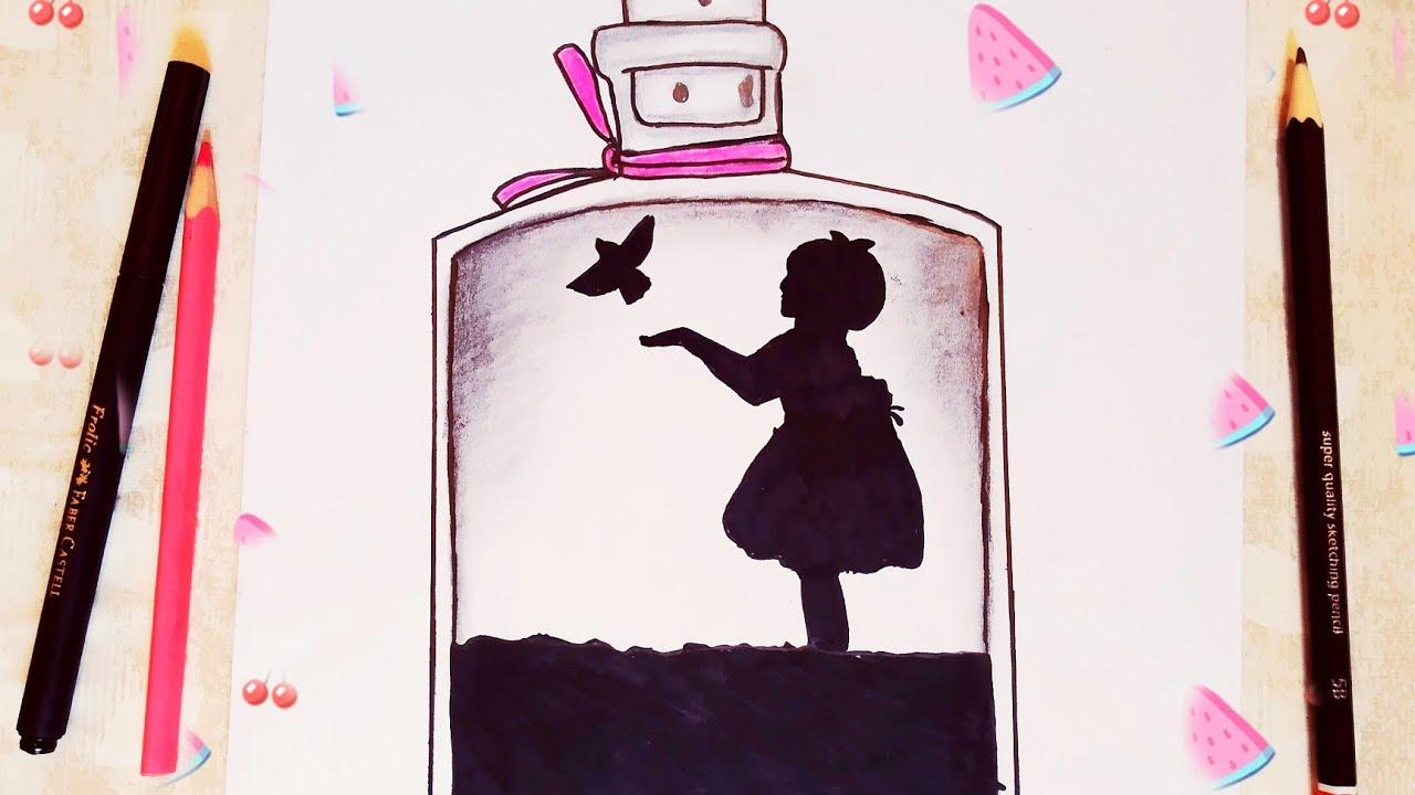 Alone Girl Drawing Guzel Kiz Cizim رسم بنات رسمة معبرة لبنت وحيدة مع طاءر رسومات سهلة للمبتدئين Youtube Drawings