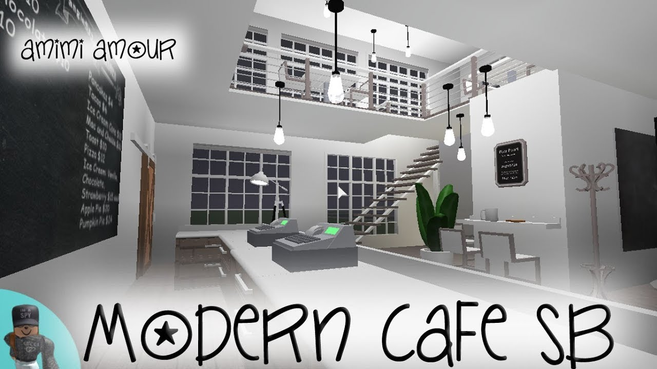 Welcome To Bloxburg Modern Cafe Speed Build Youtube