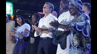 president of france mr macron dances shaku shaku with yemi alade banky w kunle afolyan femi kuti