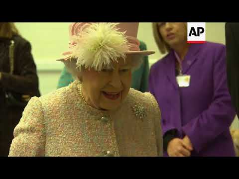 Queen Elizabeth II has puppy playtime at dog charity