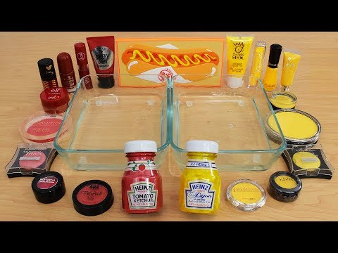 Ketchup vs Mustard - Mixing Makeup Eyeshadow Into Slime Special Series 207 Satisfying Slime Video thumbnail