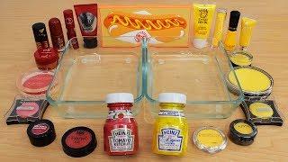 Ketchup vs Mustard - Mixing Makeup Eyeshadow Into Slime Special Series 207 Satisfying Slime Video