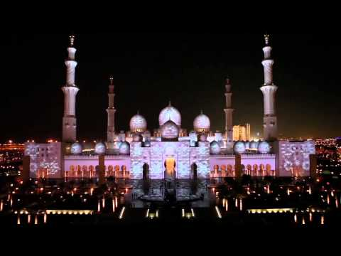 Sheikh Zayed Mosque Abu Dhabi light show clip Full