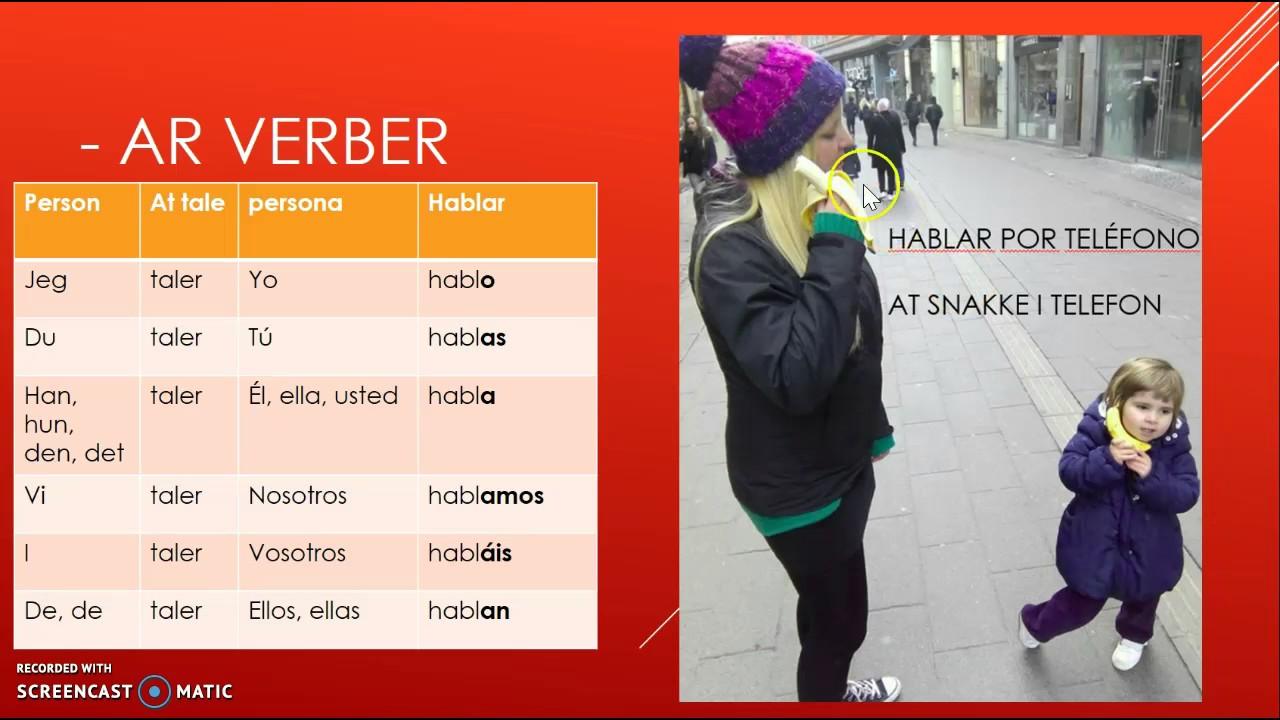 bøjningen af -ar verber på spansk i nutid (præsens)