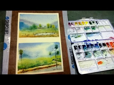 watercolour Simple landscape tutorial