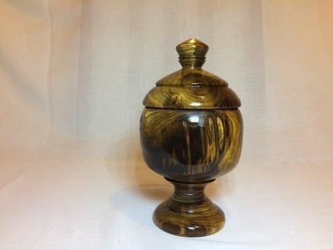 Wood turning - Beautiful Jewelry lidded box (Laburnum)