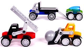 Magnet Toy Car Vehicles for Kids Learn Colors with Tow Truck Wheel Loader and Fire Truck