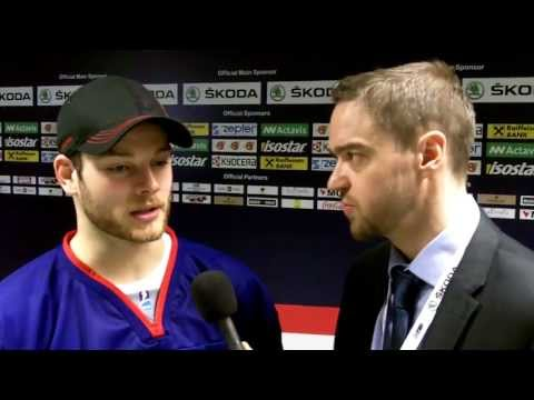 Murph chats with Rob Dowd of Team GB after their game against Hungary (Apr 14/13).