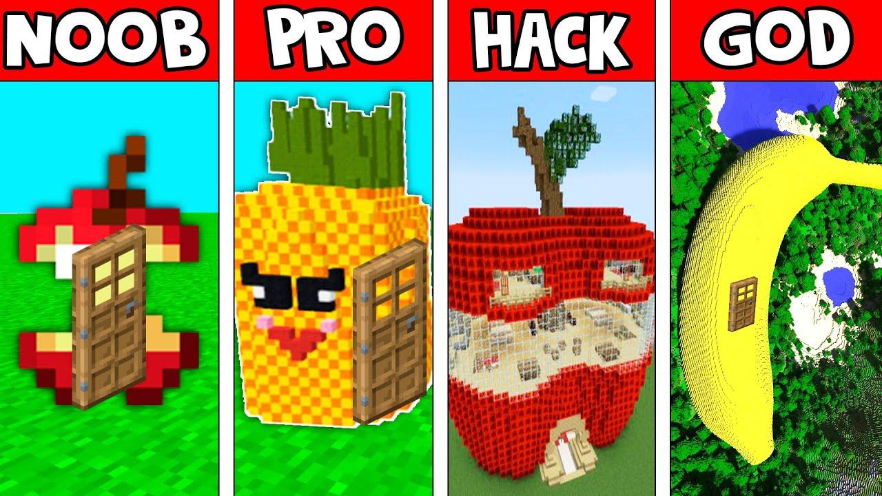 Minecraft: FRUIT HOUSE BUILD CHALLENGE - NOOB vs PRO vs HACKER vs GOD in Minecraft