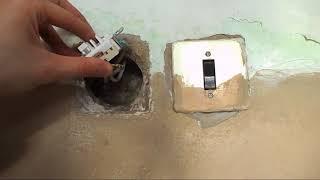 замена старого одноклавишного выключателя для скрытой проводки на новый
