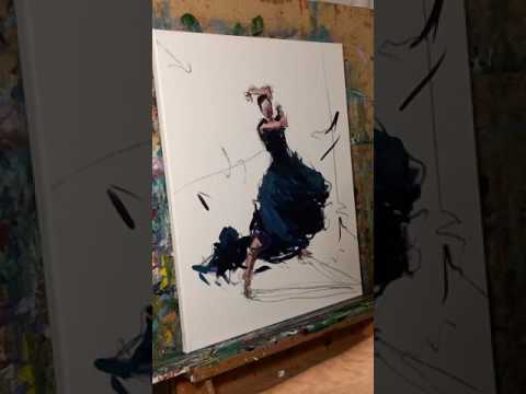 Impressionism Oil Painting Demo - Figurative Dancer Flamenco - Artist JOSE TRUJILLO