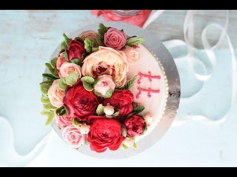 Цветы на торт: ранункулюсы, розы, пионы