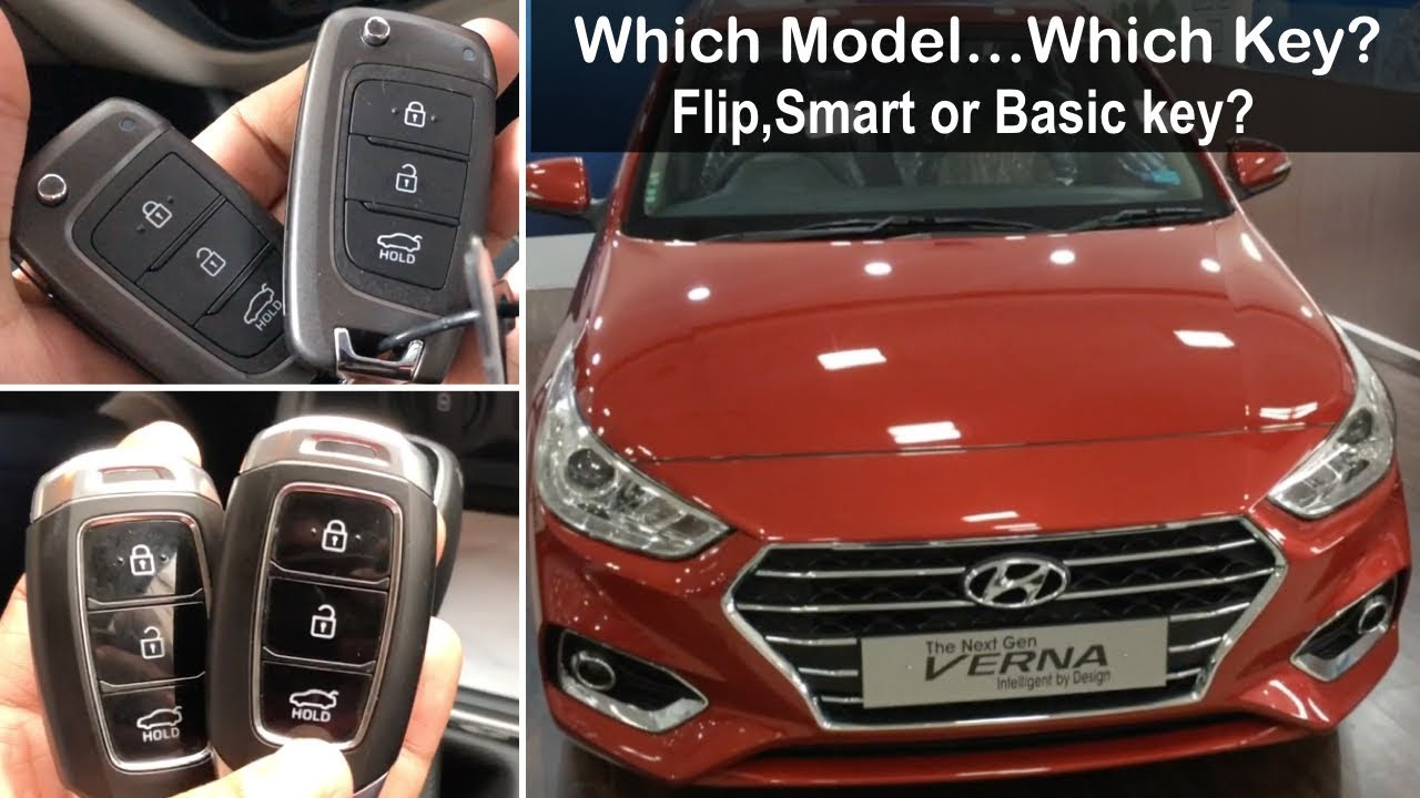 New Hyundai Verna 2017 Model Wise Keys Smart Key,Fold Key and Basic Key