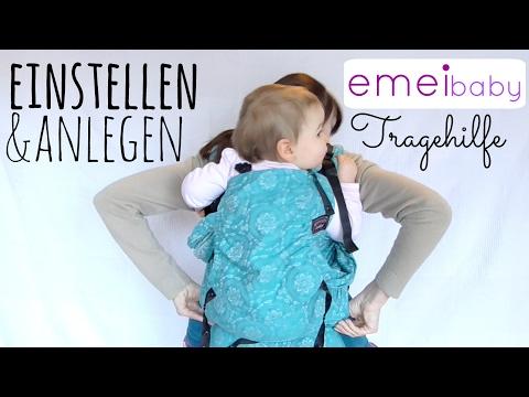 Emeibaby Tragehilfe | Einstellen und Anlegen | Bauch- und Rückentrage