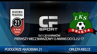 Skrót meczu: Podgórze Akademia 21 - Orlęta Kielce 10.11.2018