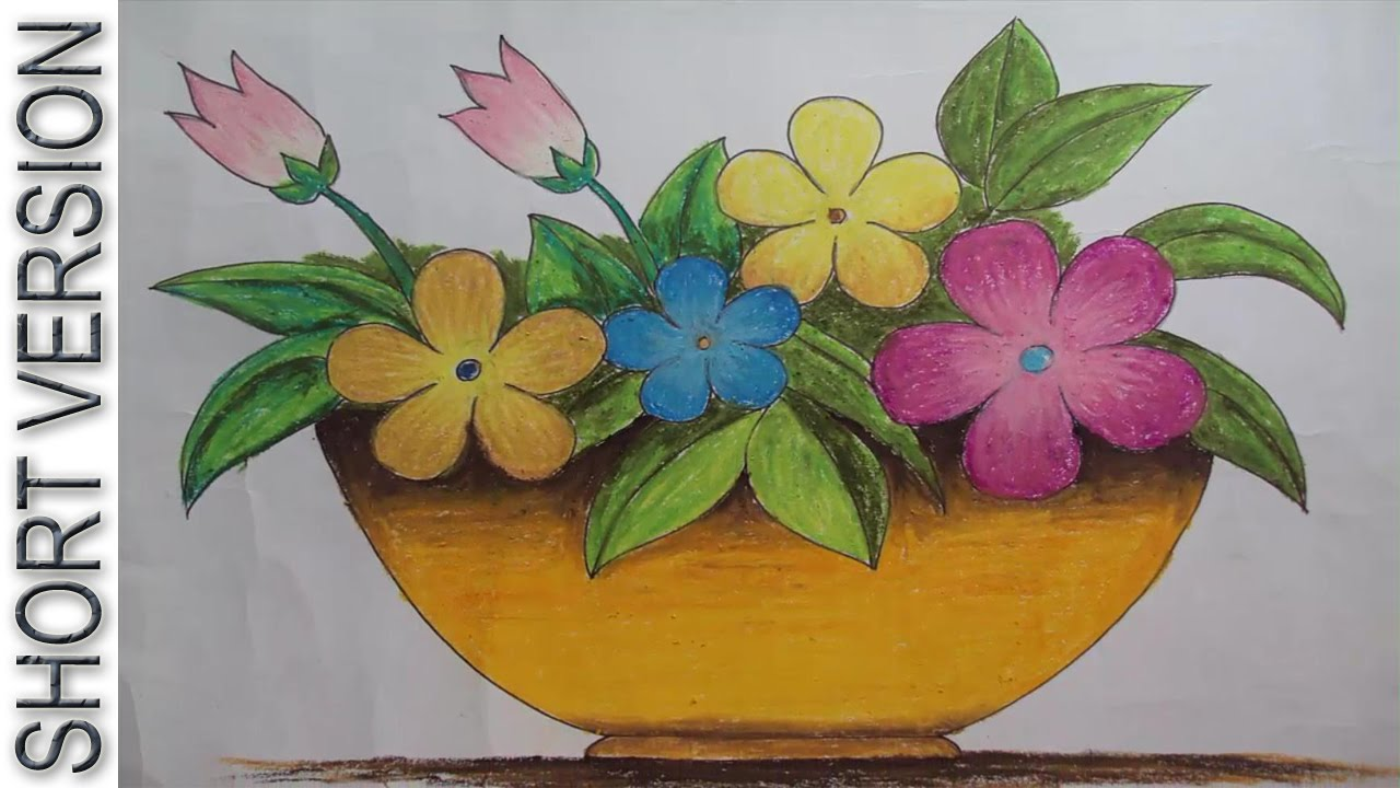 How to draw a flower vase with oil pastel short version youtube reviewsmspy