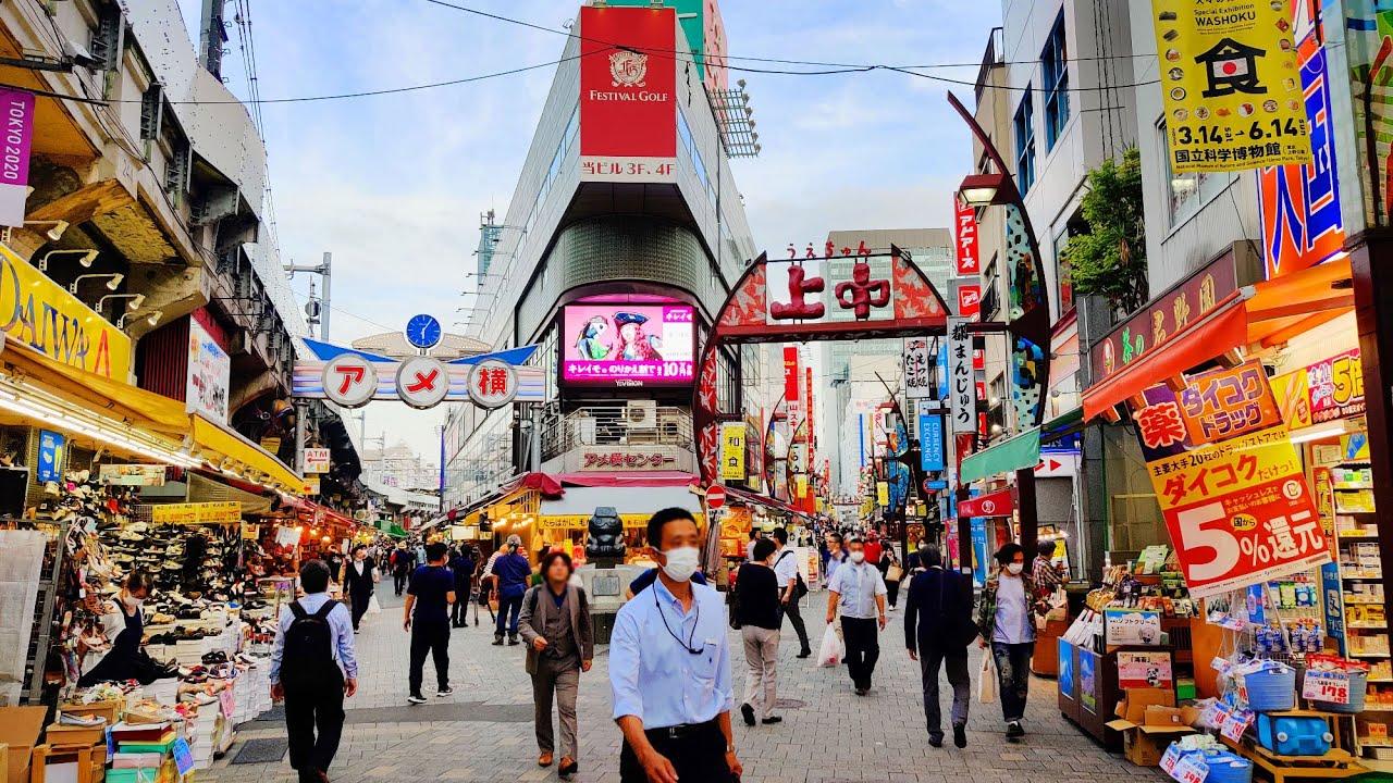 Walking in Ueno (上野) Tokyo. June 2020 - 4K 60FPS Binaural Audio - Slow TV