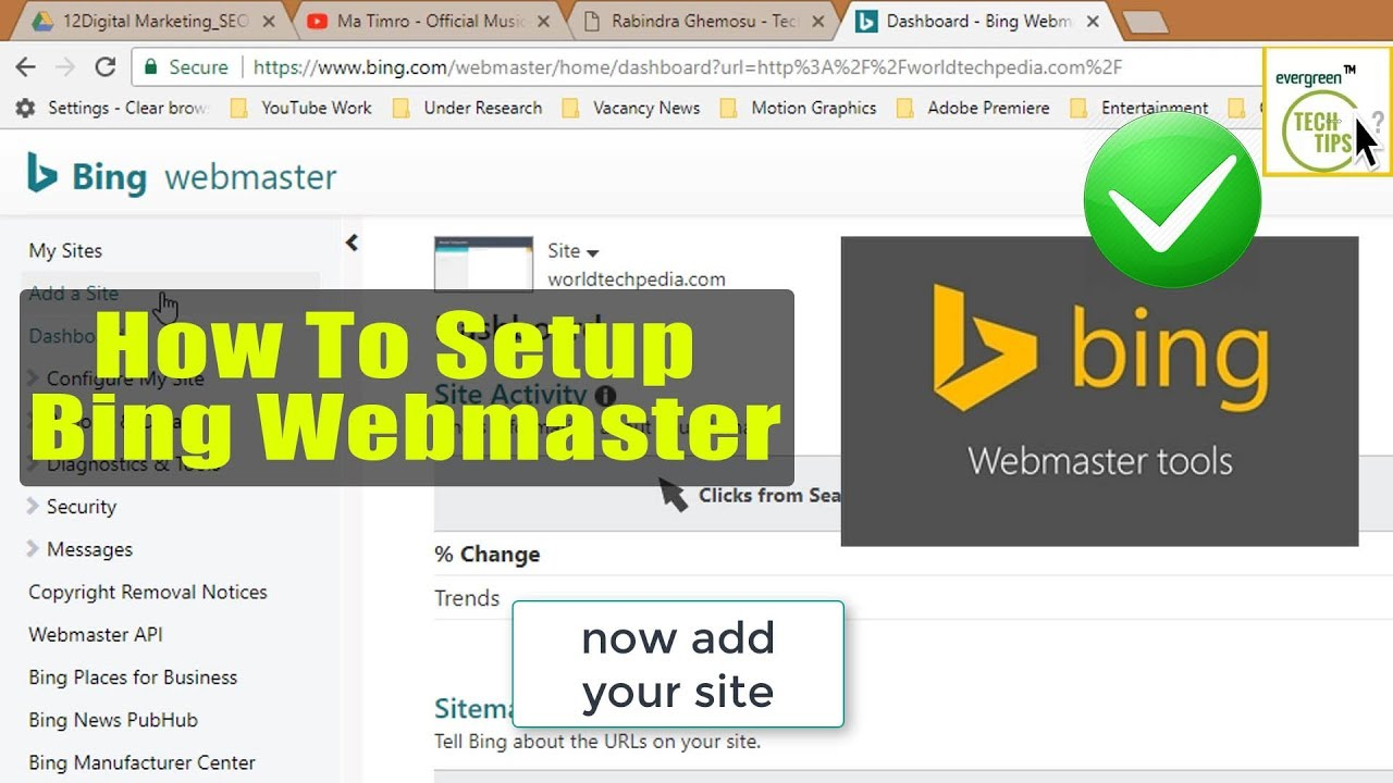 how to set up bing webmaster tools