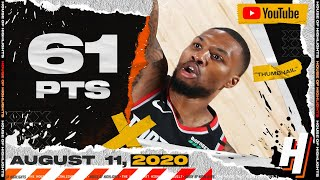 Damian Lillard EPIC 61 Points Full Highlights | Blazers vs Mavericks | August 11, 2020