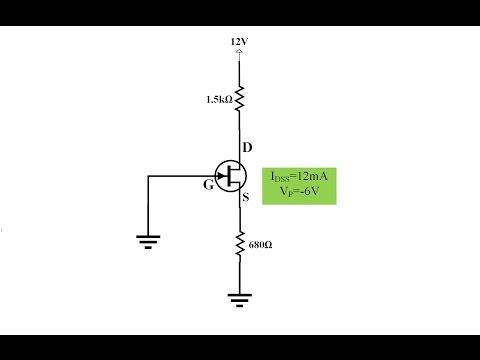 Elektronik Ders 39 JFET Common Gate DC Analiz Örneği (Hesap Makinesi Kullanımı ile)