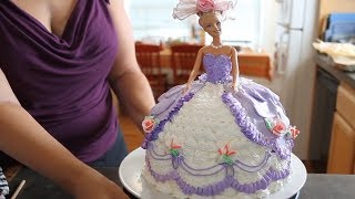 Repeat youtube video Barbie Doll Cake How to decorate a Barbie Doll/Princess Cake with icing