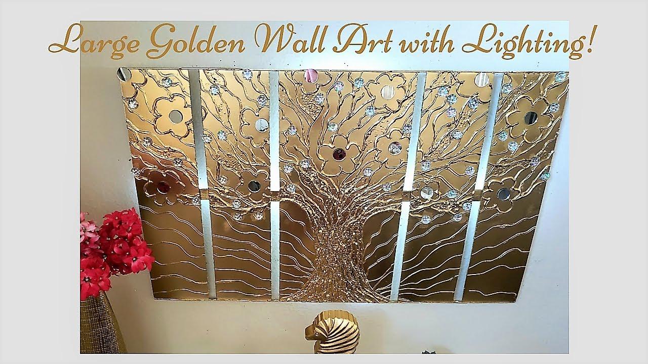 Diy Lighted Metallic Wall Art Decor| Wall Decor ideas in Gold!