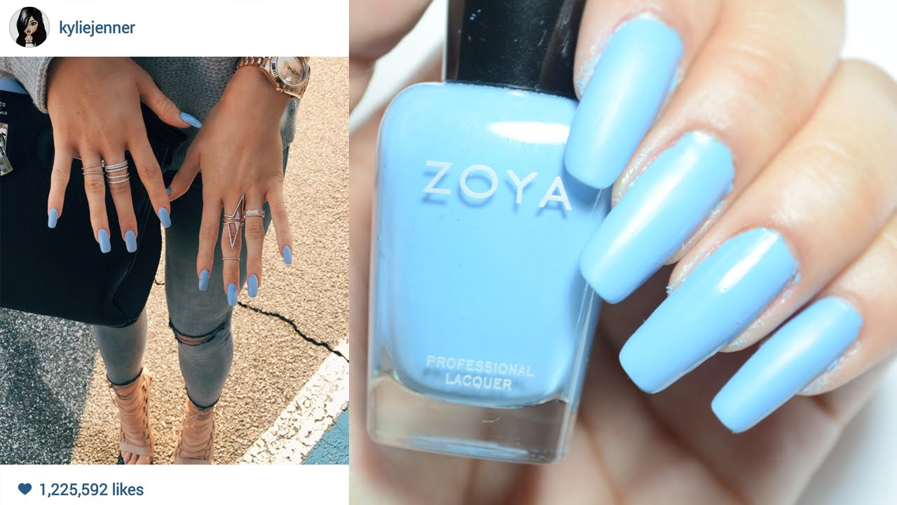 Kylie Jenners Blue Matte Nails Zhyna Youtube
