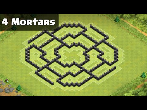 Clash of Clans - Town Hall 8 (TH8) Farming Base Octagon (Halloween Update/4 Mortars)