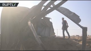 Aftermath of Israeli forces multiple airstrikes in the southern Gaza Strip