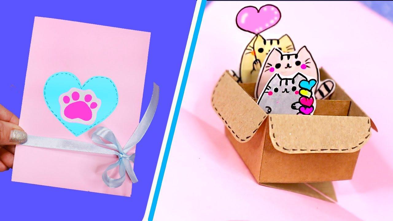 DIY Милая 3Д Открытка с Котиками в коробочке?  Валентинка с Пушином