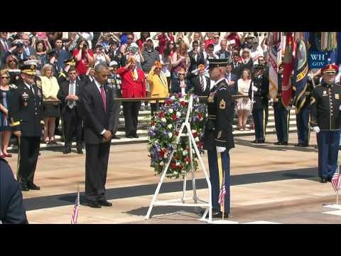 President Obama lays a wreath at the Tomb of the Unknown Soldier