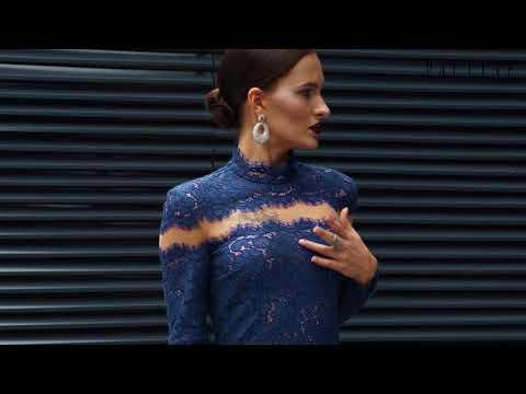 Вечернее платье из кружева с длинным рукавом