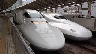 〔4K UHD|cc〕JR東海・東海道新幹線:東京駅、700系『のぞみ号』出発シーン。