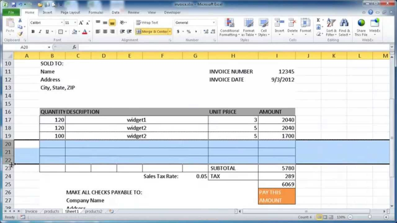 Create an Invoice in Excel 2015 - YouTube