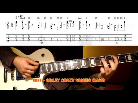 Crazy Crazy Nights RIFF (Kiss) GUITAR LESSON with TAB