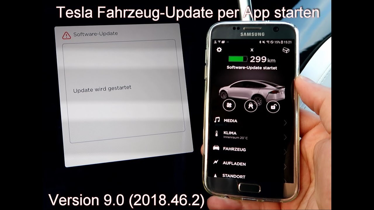 Tesla Update per App starten | Version 9.0 (2018.46.2)