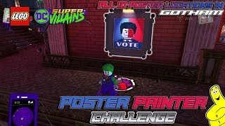 Lego DC Super-Villains: Poster Painter CHALLENGE (All 10 Poster Locations) - HTG
