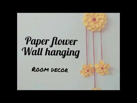 Paper flower wall hanging|room decor craft|diy
