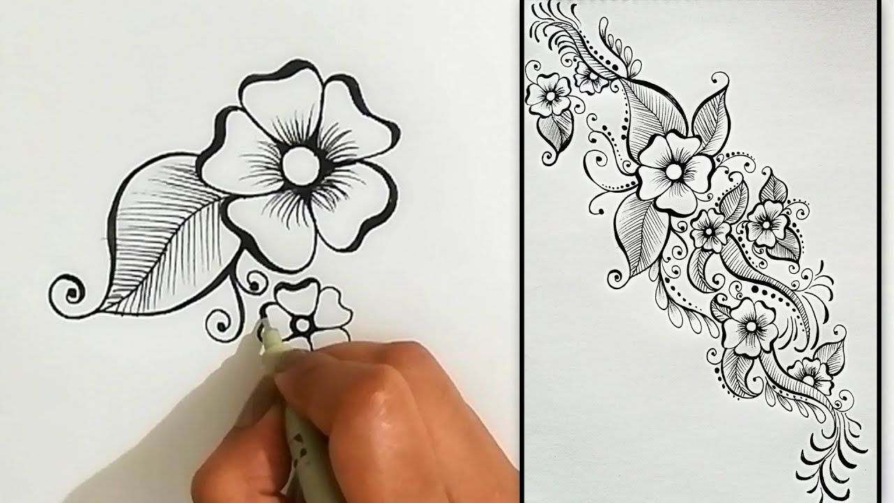 How To Draw Step By Step Arabic Mehndi Design Quick Easy Design