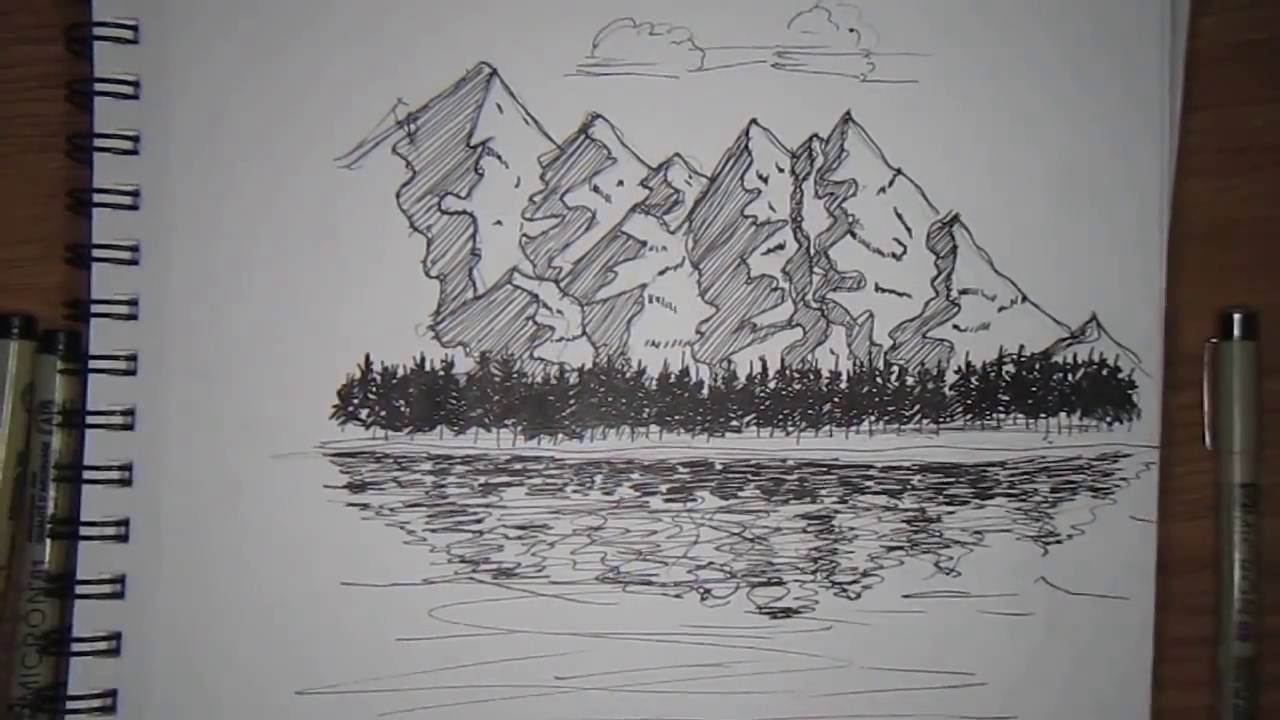 Mountain landscape drawing pen and ink youtube for What is landscape drawing