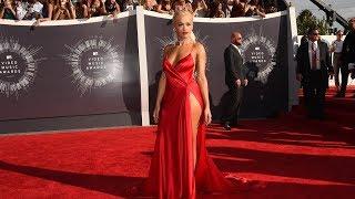 Rita Ora Sexy Plunging Red High Slit Prom Dress VMA 2014 Red Carpet