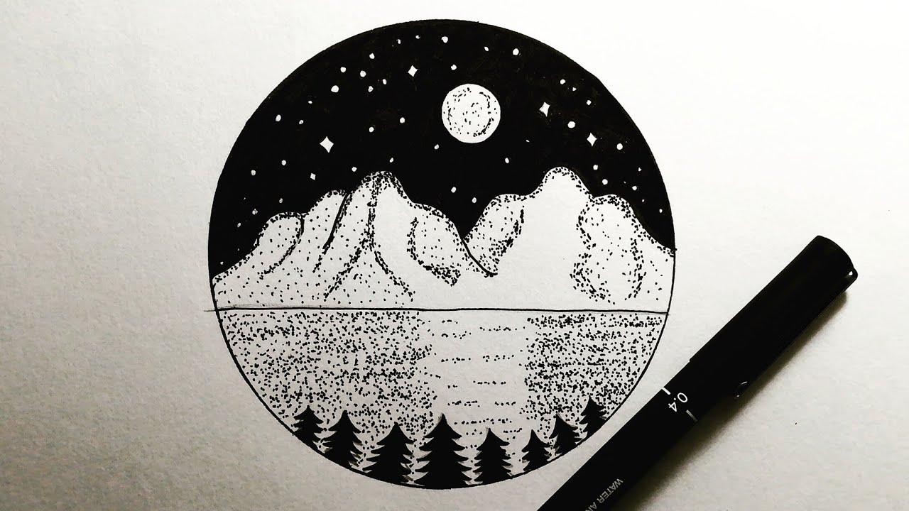 تعليم الرسم رسم منظر طبيعي ليلي سهل جدا باللون الأسود فقط خطوة بخطوة How To Draw Nature View Easy Youtube